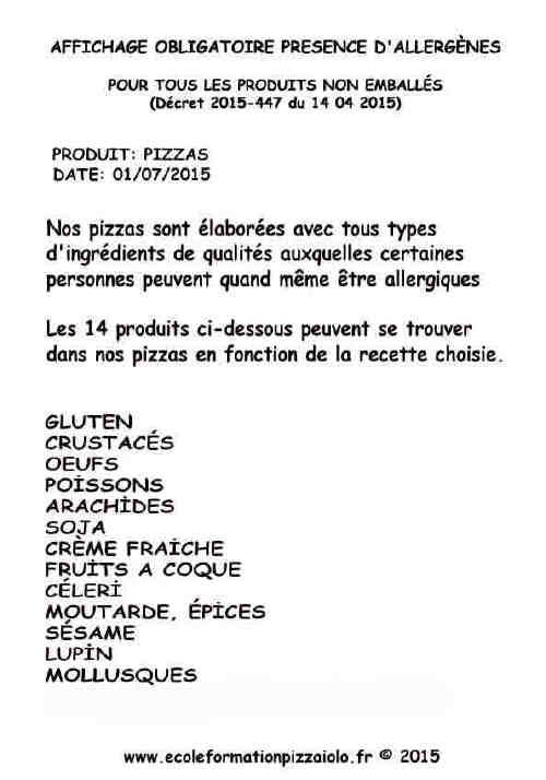 affichage tableau allergenes obligatoire ecole formation pizzaiolo. Black Bedroom Furniture Sets. Home Design Ideas